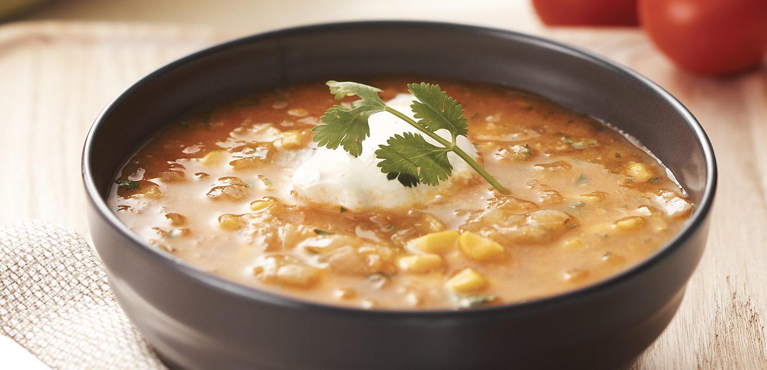 Creamy Fresh Corn & Tomato Soup